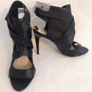 Bershka Black Textured Peep Toe Sandals Sz 40/10